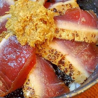 究極の鉄火丼♪ 「漬けマグロ炙り丼」