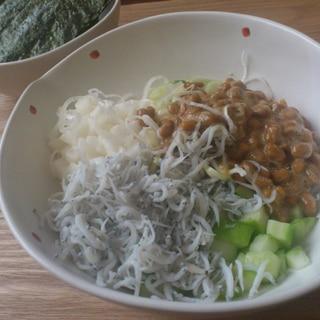 最強おつまみ☆しらす納豆の海苔のせ