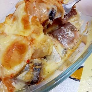 低糖質で簡単(^^)サバ缶のキムチ&チーズ焼き♪