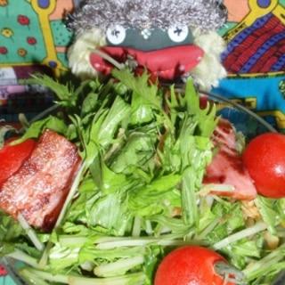 水菜とカリカリベーコンの生姜サラダ