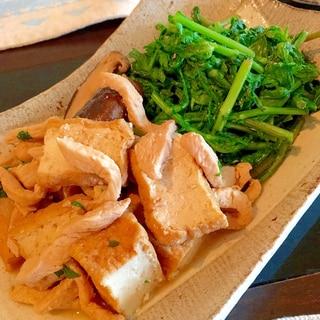 春菊と鶏むね肉、厚揚げのきんぴら風♩
