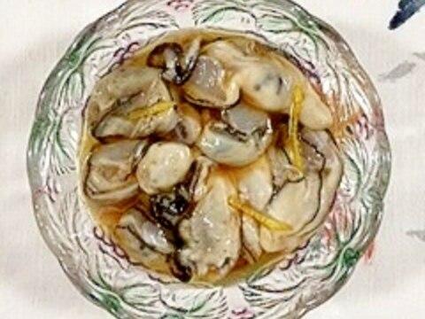 牡蠣の柚子和えにタバスコ