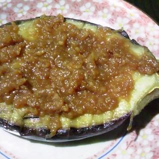 簡単に一品!茄子の鶏挽肉の味噌のせ