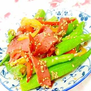 胡麻香る❤しし唐とオクラとビアハムの和風炒め❤