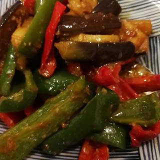 茄子ピーマン蓮根の味噌豆板醤炒め