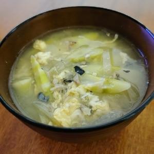 信州の郷土料理☆根曲がり竹とサバ缶のみそ汁