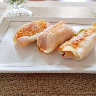 餃子の皮アレンジレシピ ピザ風巻き