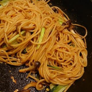 キノコの鶏ガラ醤油パスタ