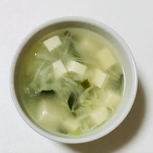 絹ごし豆腐とキャベツのお味噌汁