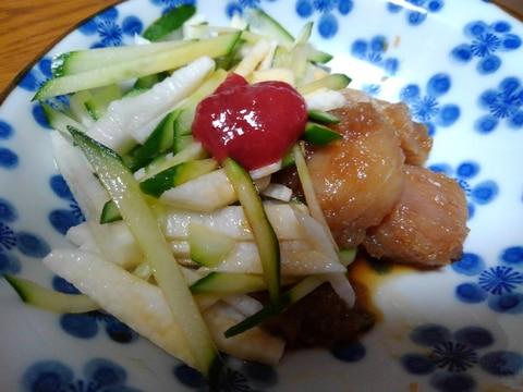 サクサクきゅうりと山芋の刺身サラダ