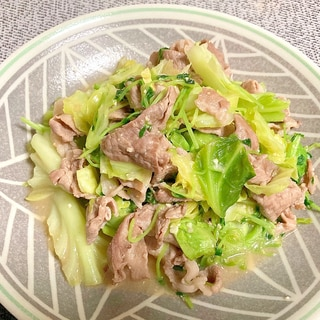 豚こま肉とキャベツと豆苗のみそ炒め