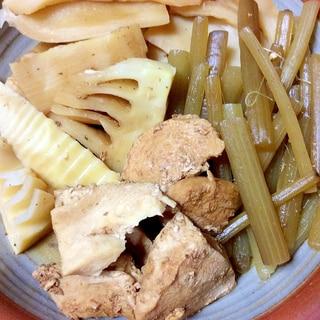 筍とフキと鶏胸肉の煮物