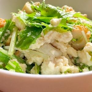 切って混ぜるだけ♪豆腐とちくわと水菜の和えもの