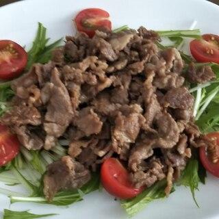 牛焼き肉と水菜とトマトのサラダ☆