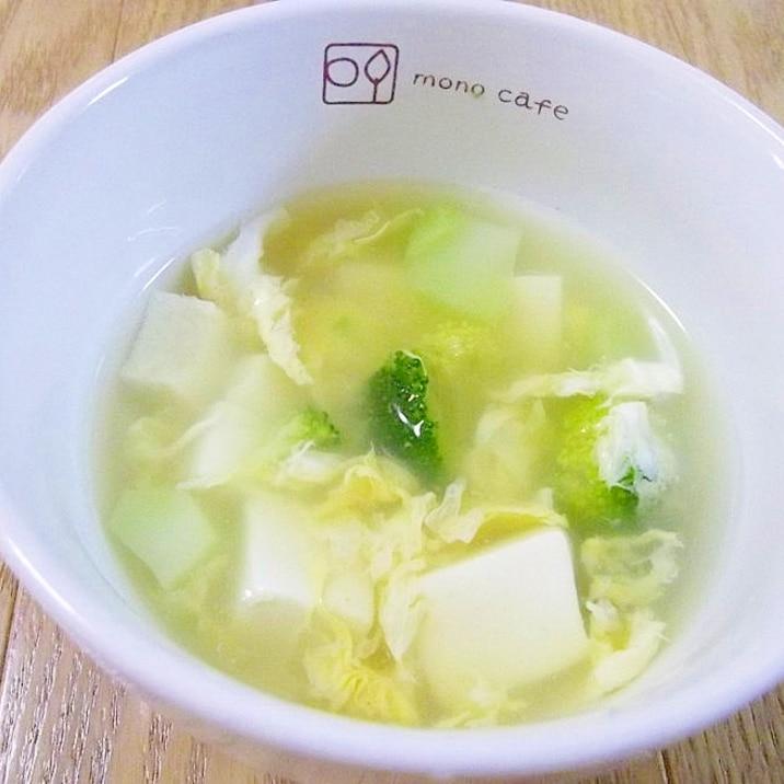 中華風*ブロッコリーと豆腐のかき玉スープ*