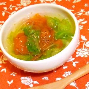 レタスとトマトのコンソメスープ