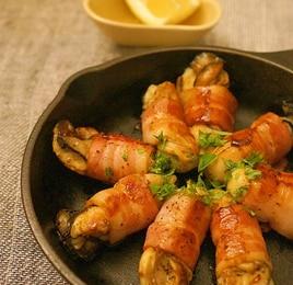 牡蠣のベーコン巻きグリル