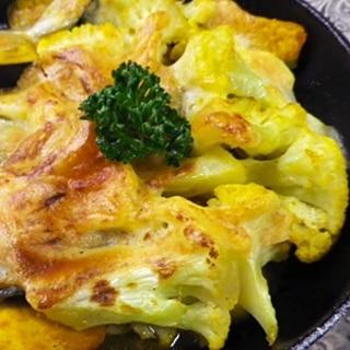 グリルパンで、カボチャとカリフラワーのチーズ焼き