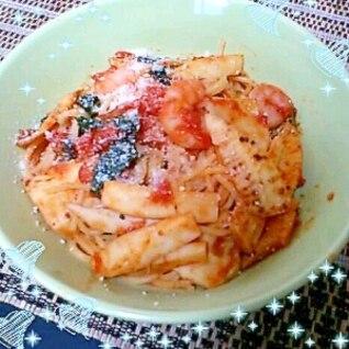 かんずりで和風なピリ辛!!筍とエビのトマトパスタ♪