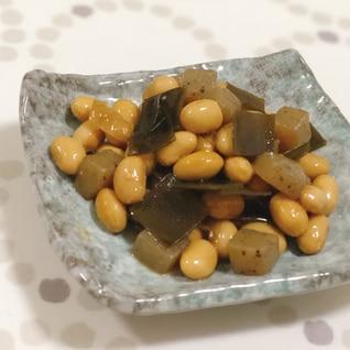 大豆とこんにゃくの昆布煮♩水煮缶で下茹でなし☆