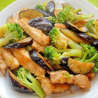 豚肉と茄子ブロッコリーのオイスター生姜炒め