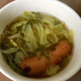 豆苗とキャベツのコンソメスープ