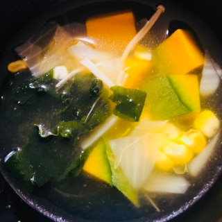 ハロウィン♡かぼちゃとわかめのスープ