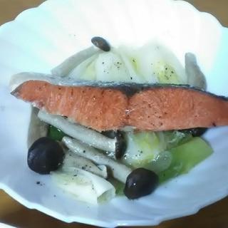 鮭と野菜のレンチン蒸し