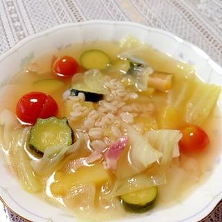 [ズッキーニ・ミニトマト・キャベツ]押し麦のスープ