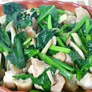 シンプルに☆鶏肉とほうれん草の炒め物