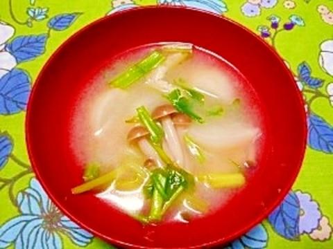 毎日のお味噌汁115杯目*蕪とシメジ、セリ