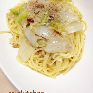 ツナと白菜のペペロンチーノ