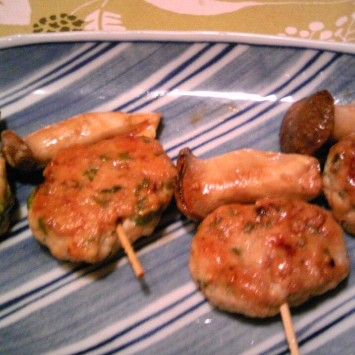 鶏むね肉とわさび菜のつくね風