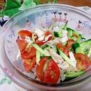 電子レンジでささっと♪ささみと夏野菜サラダ