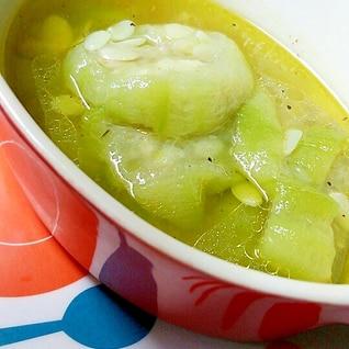 レンジで簡単★ヘチマのアビージョ風スープ