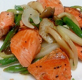 鮭とインゲンのオリーブオイル炒め