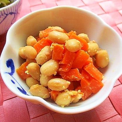 大豆とにんじんの甘味噌炒め