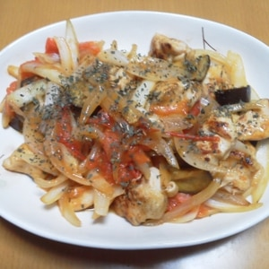 鶏肉のイタリアン炒め♪トマトとナスが絶妙