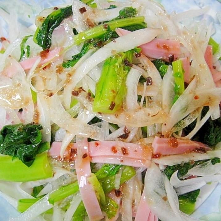 かき菜と新たまねぎのサラダ
