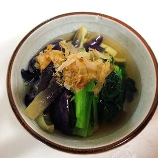 レンチンなすと小松菜のお浸し