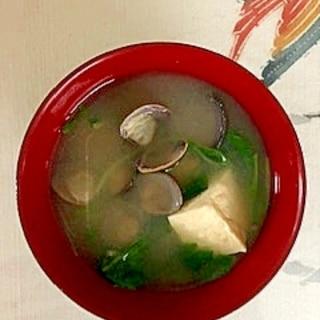 水菜、木綿豆腐、しじみのお味噌汁