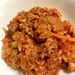 豚肉とトマト缶の炊き込みご飯