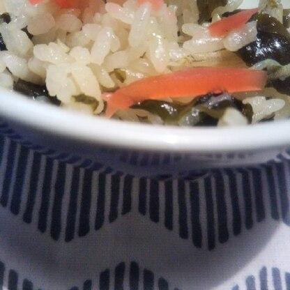 あとのせ紅生姜がじゃこわかめにとても良いですね。画像撮る前に少し食べちゃいました  。