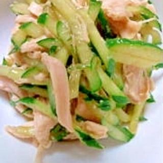 きゅうりとササミの即席中華サラダ