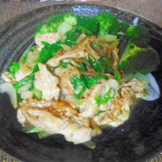 豚肉とワサビ菜のニンニク炒め