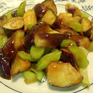 茄子とセロリの甘酢炒め