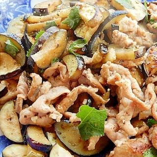 塩麹で❤少し和風な豚肉とナスの炒め物♪(明日葉)