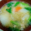 小松菜と白菜と人参、豚肉の中華風味噌スープ