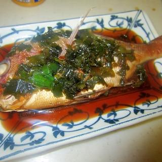 葱と真鯛の煮つけグリル