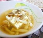 簡単時短料理♪豆腐とキノコの和風スープ